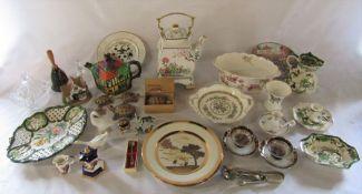 Various ceramics inc Masons, Coalport, Wade, Spode and Lilliput Lane, silver plate and glassware