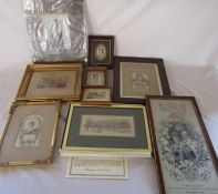 Various Stevengraph and other makers embroidered pictures / weaving on silk relating to the Royal