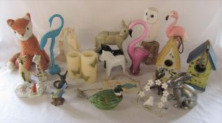 Various animal related ceramics and glassware etc inc glass flamingo, bird houses and fox door stop