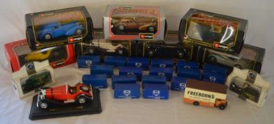 Collection of die-cast vehicles including Burago, Corgi & Lledo