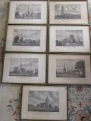 7 framed engravings of Lincolnshire churches by H Burgess and W Burgess - Gosberton Church, nr