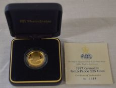 1997 Guernsey gold proof £25 coin with box & certificate