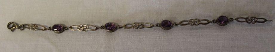 Silver & amethyst Rennie Mackintosh style bracelet