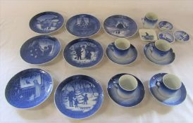 Selection of Royal Copenhagen plates and cups and saucers (one cup and saucer af)