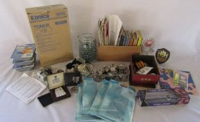 Assorted items inc glass jar of marbles, quantity of whistles, printer inks, Ronson lighter,