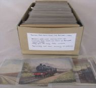 Box of approximately 400 postcards including 40 photo cards relating to transport, maps, crests