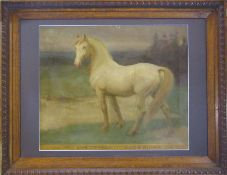 Oak framed oil on canvas of 'Amour Kings Royal Creams MDCCCCXIV Sire Belgrade Dam Amy' by Hugh