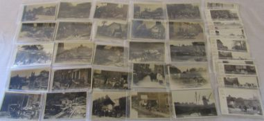 Collection of 40 postcards relating to the Louth Flood (25 Benton, 15 Yorkshire Observer)