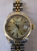 Ladies bi-metal Rolex oyster perpetual date wrist watch (repair required to strap)
