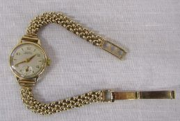 Ladies 9ct gold Buren Grand Prix swiss wrist watch with 9ct gold strap weight excluding movement