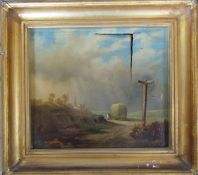 Gilt framed 19th century oil on canvas, unsigned, hay cart in landscape (tear to canvas) 49 cm x