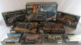Selection of Revell model kits inc LCM3 D Day, Battle of Waterloo, German Staff car & WWI infantry