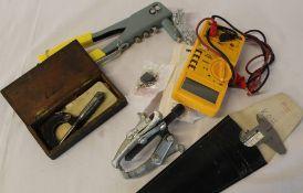 Small box of tools including engineers micrometer, Vernier gauge, multimeter etc.