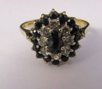 9ct gold sapphire and cubic zirconia cluster ring size M/N weight 2.6 g
