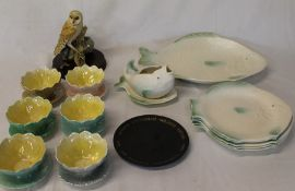 Shorter & Sons fish plates & sauce boat on stand, 6 Royal Winton sundae dishes, Wedgwood Churchill