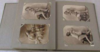 Postcard album of bathing belles, lingerie and nudes - mixed dates (51 postcards and 9 cards)