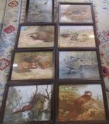 8 oak framed animal prints