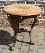 Cast iron pub table with wooden top