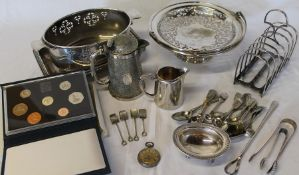 Selection of silver plate including large toast rack, ladies fob watch & 1987 Royal Mint proof