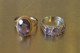 9ct gold & amethyst ring size N/O weight 3.8 g & a silver & amethyst ring size O
