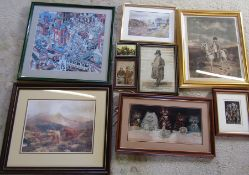 Various prints etc inc Napoleon, cattle and Colemans