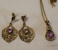 9ct gold amethyst pendant on chain & pair of tested as 9ct gold amethyst earrings