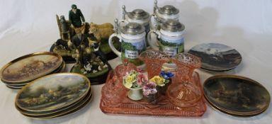 Assorted ceramics, dressing table set, Bradford Exchange train plates etc.