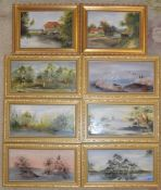 Set of 6 hand painted porcelain plaques by Susan Bone & 2 small oil on boards by Grossi
