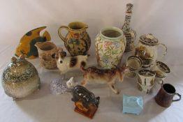 Selection of ceramics inc Woods Indian Tree, goat figurine, Royal Worcester etc