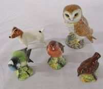 Assorted Beswick animal figures inc owl, jack russell dog and other birds (one bird af)