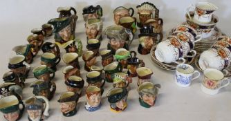 Quantity of small & miniature Royal Doulton character jugs (1 repaired) and an Imari style part