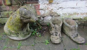 Garden ornaments - pig and a pair of boots