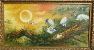 Large gilt framed oil on canvas painting of nesting Herons signed 'Peter' (possibly by Grimsby