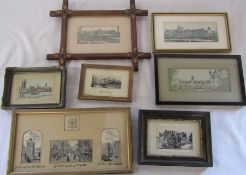 Selection of Stevengraph embroidered pictures / weaving on silk inc The Crystal Palace, Balmoral