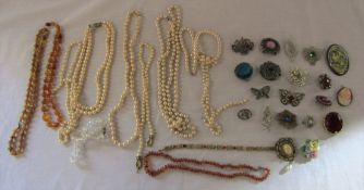 Various costume jewellery inc pearls, amber and brooches