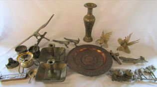 Various brass and copper ware etc inc eagle, chamber sticks, charger etc