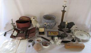 2 boxes of assorted ceramics, sheep door stop, mincer, gents grooming set, jardiniere etc