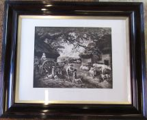 Large framed engraving 'The Dairy Farm' engraved by W Ward 92 cm x 77 cm (size including frame)