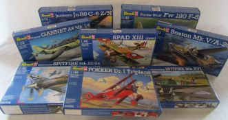 Selection of Revell aircraft model kits inc Spitfire, Fokker, Gannet & Spad XIII