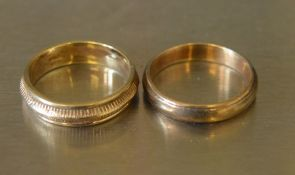 2 9ct gold wedding bands total weight 6.3g size N