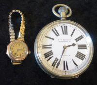 H W Bedford 67 Regent Street Goliath Waltham pocket watch (7cm diameter) & a lady's gold plated