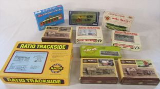 Various train model kits inc Ratio trackside, Brill trolley and Country station