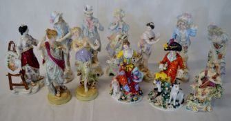 Collection of late 19th/early 20th century Continental porcelain figures (some damage)