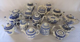 Collection of willow pattern teapots inc Royal Worcester, Booths, Royal Doulton, Woods, Sadler,
