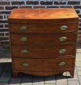 Georgian mahogany bow fronted chest of drawers with caddy top and ebony stringing (one handle