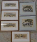 6 (2 sets) of framed Victorina farming prints