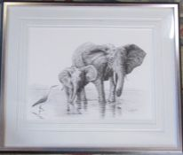 Framed pencil drawing of an elephant with her calf signed and dated 2003 lower right corner 68 cm