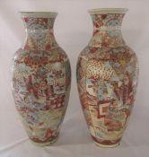 2 large Satsuma style vases H 56 cm (one af)