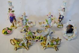 Pair of Meissen style porcelain figural candlesticks, figural posy vases, mirror etc (some damage)