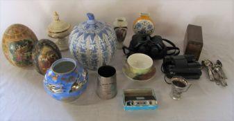 Varous ceramics, silver plate and binoculars etc
